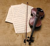 foto of musical instrument string  - old violin - JPG