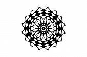 Black Vector Mandala On White Background. Geometric Mandala Decor Element. Round Stamp Template. Cir poster