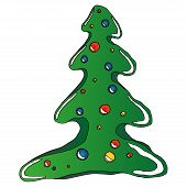 Christmas Tree With Balls. Vector Illustration Of A Christmas Tree And Christmas-tree Toys. Hand Dra poster
