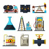 Fuel And Gas Industry. Vector Icon Set Of Petroleum And Gas. Petroleum Industry, Refinery Industrial poster