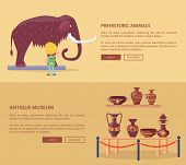 Exhibition Of Prehistoric Animals And Ancient Greek Vases Set Of Vector Web Banners With Text, Ticke poster
