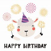 Hand Drawn Birthday Card With Cute Funny Sheep In A Party Hat, Sparklers, Fireworks, Quote Happy Bir poster