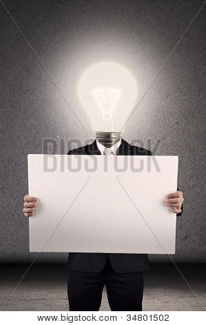 Smart businessman with business idea list