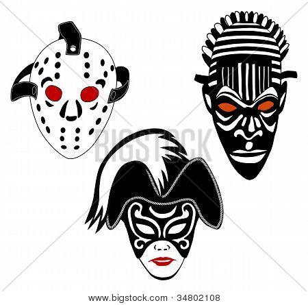 Masks, set of hockey, Venice and African masks