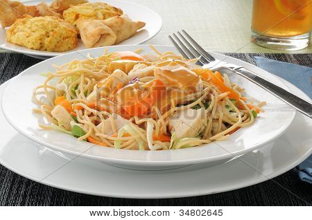 Thai Chicken Salad With Crab Rangoon