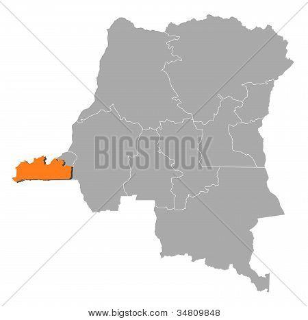 Mapa de República Democrática del Congo, Bas-congo destacada