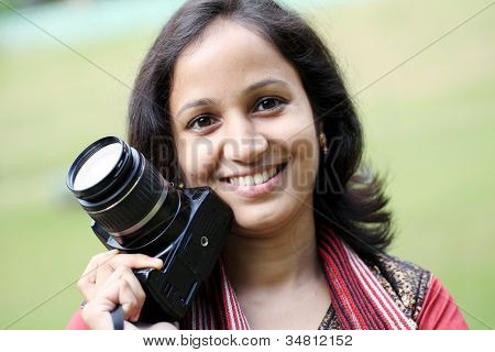 Confident Young Woman Photographer