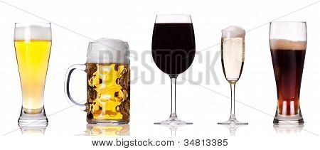 Champagne Beer Wine Coke Isolated