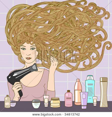 Menina com secador de cabelo