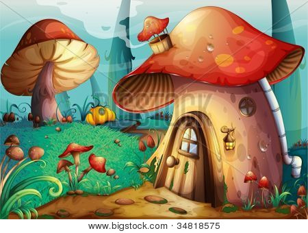 illustration of red mushroom house on a blue