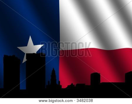 Fort Worth Skyline mit Texanische Flagge