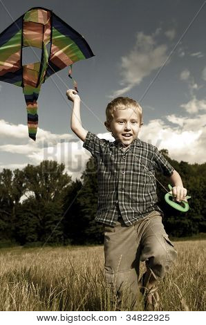 Happy Playing Child With Kite