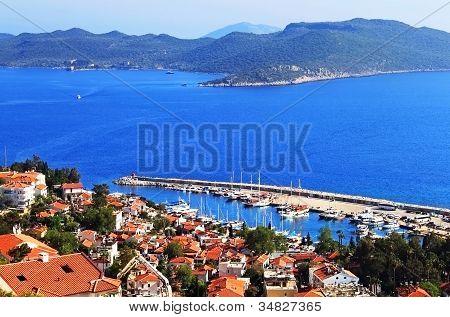 Harbour Of City Kas (kash) In Turkey And Greek Island Kastelorizo