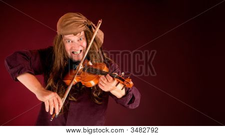 Pirate Playing Violin And Announcing Something