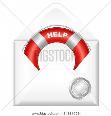 Open Envelope With Red Life Buoy, Isolated On White Background, Vector Illustration