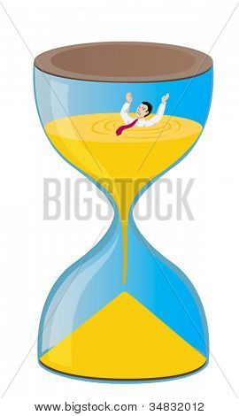 Businessman drowns in time - conceptual image