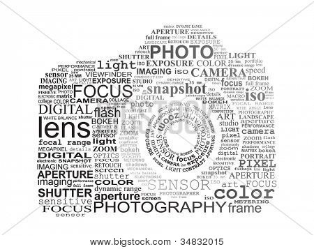Typographic SLR camera. Photography concept.
