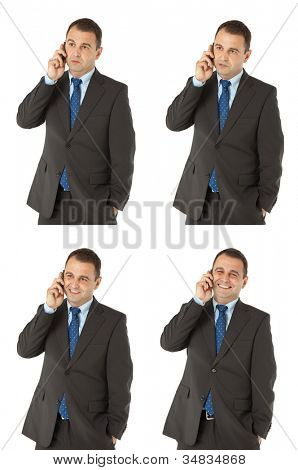 Multiple expressions of businessman standing and talking on the phone