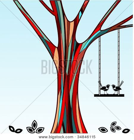 colorful tree with birds and swing