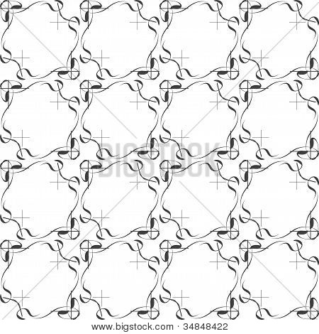 Vector Seamless Ethnic Doodle Monochrome Pattern