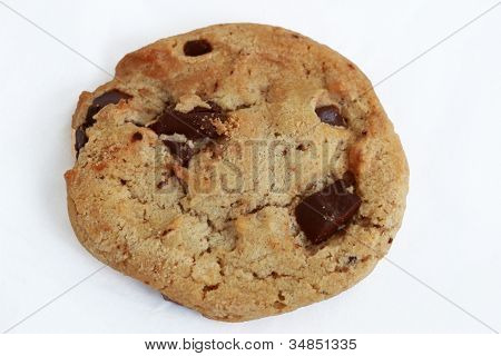Single chocolate chip cookie isolated on white