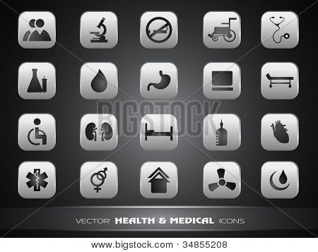 Medical icons set isolated on grey background. EPS 10.