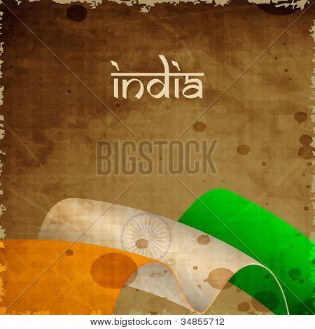 Indian Flag wave background with grungy effect and text India. EPS 10.