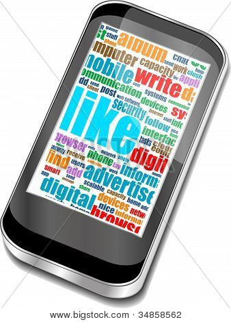 Smart Phone With Social Media And Business Words