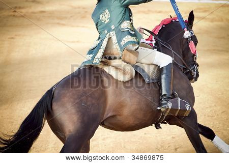 Matador and horseback in bullring