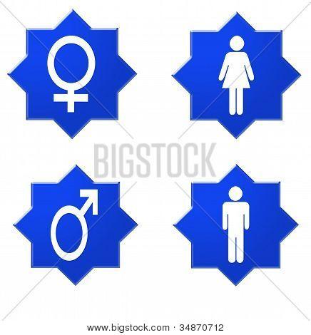 Señal que indica para las mujeres y los hombres