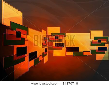 Abstract Design Of Grouping Bright Shapes