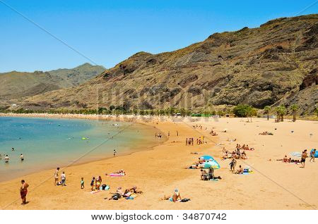TENERIFE, SPAIN - JUNE 23: A view of Teresitas Beach on June 23, 2011 in Tenerife, Canary Islands, Spain. This is the nearest beach to Santa Cruz, the capital of Tenerife