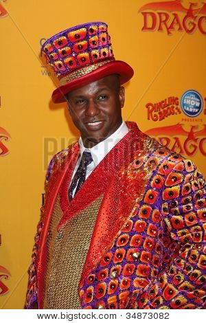 LOS ANGELES - JUL 12:  Ringmaster arrives at 'Dragons' presented by Ringling Bros. & Barnum & Bailey Circus at Staples Center on July 12, 2012 in Los Angeles, CA
