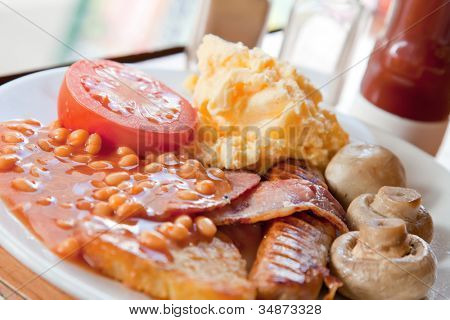 Closeup of Full English Breakfast