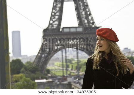 Close Up Female Model In Red Hat Eiffle Tower
