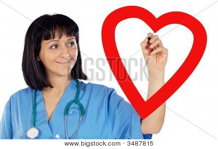 Medical Cardiologist Drawing A Heart