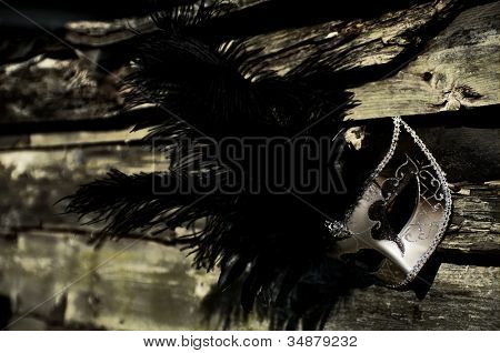 Masquerade - Silver Venetian Mask on Weathered Fence