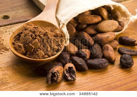 Cocoa (cacao) Beans On Natural Wooden Table