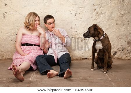 Surprised Women With Dog