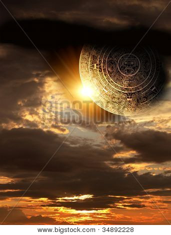 Vertical background with Maya calendar and sunset