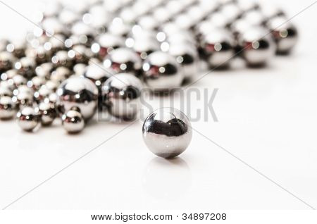 Close Up Metallic Bearing Balls On Metal