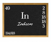 stock photo of indium  - Blackboard with the signs of the periodic table - JPG