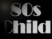 stock photo of psychodelic  - Monochrome Psychodelic 80s Child LED Light Text - JPG