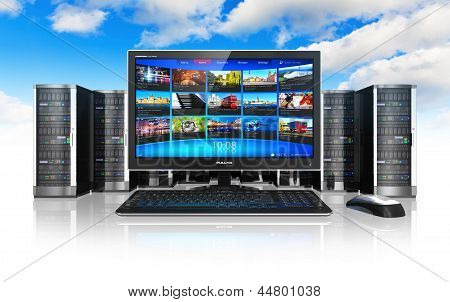 Cloud computing and telecommunication concept