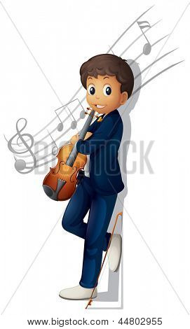 Illustration of a musician with a violin and musical notes on a white background