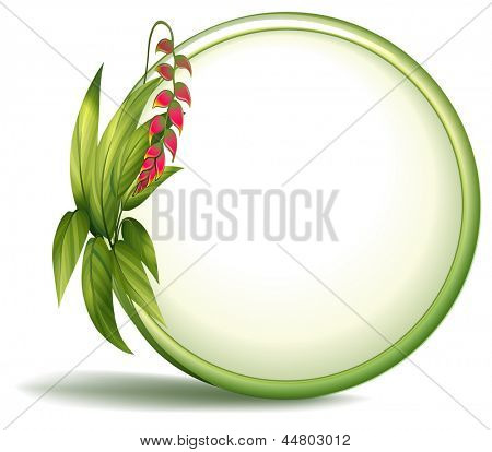 Illustration of an empty circle border with elongated leaves on a white background