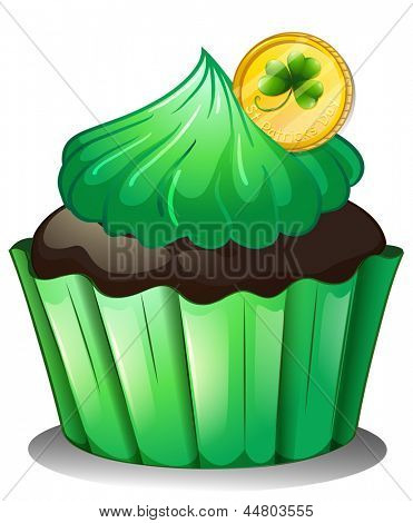 Illustration of a chocolate cupcake with a coin at the top on a white background