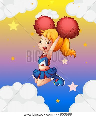 Illustration of a young cheerdancer performing with her red pompoms