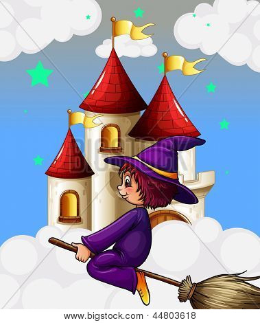 Illustration of a witch riding in a broom near the castle