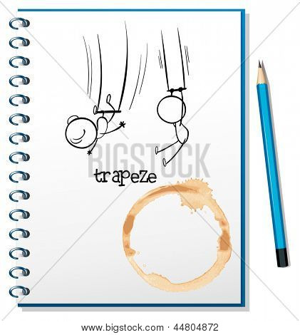 Illustration of a notebook with a sketch of people hanging at the trapeze on a white background